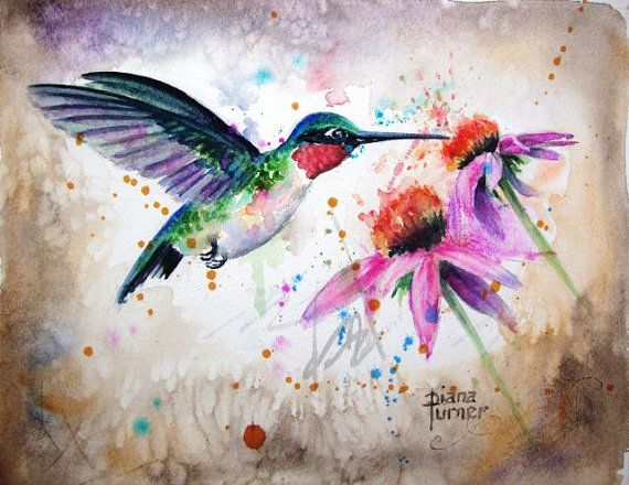 Ruby Throated Hummingbird Art Print Watercolor Painting Giclee