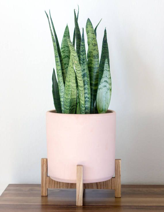 New Small Mid Century Modern Planter Plant Stand With 8 Ceramic