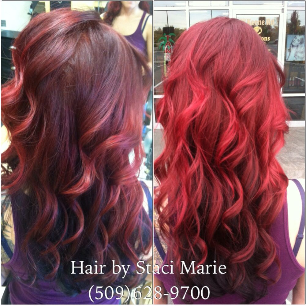 Red ombré. Done by Staci Marie @ creations salon and spa.  https://m.facebook.com/groups/149839721850393?ref=bookmark