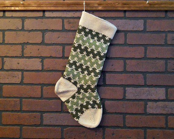 Christmas stocking, Knit Christmas Stocking, Striped Stocking in ...