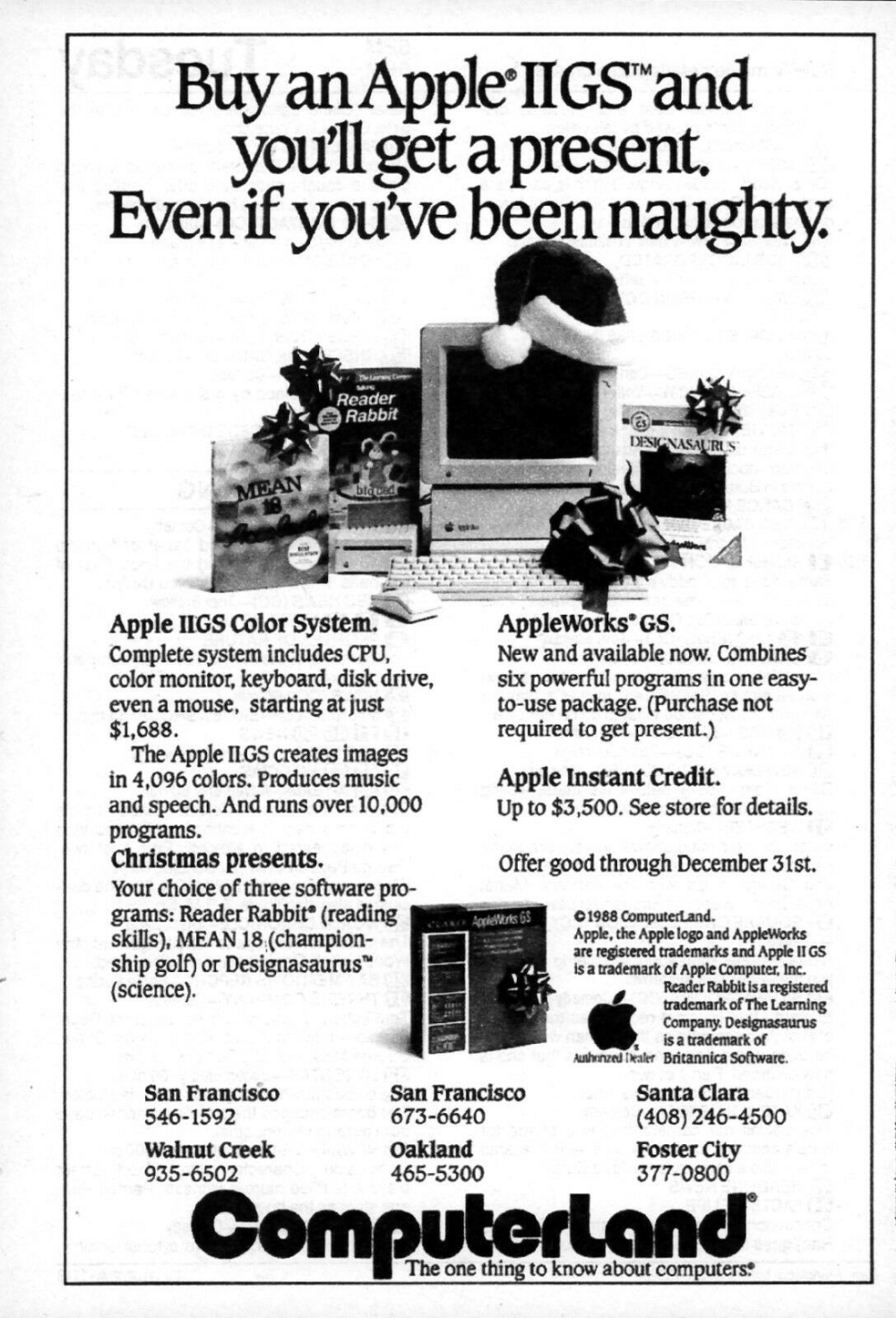 1988 Apple IIGS Computer Christmas tv guide ad