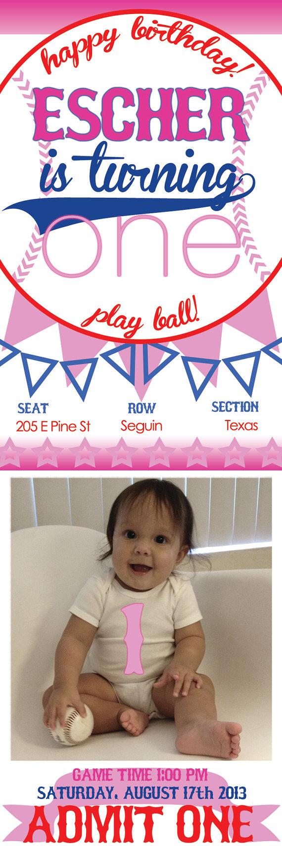 Baby Girl Baseball Birthday Party Ticket Invitation Digital File on Etsy, $15.00