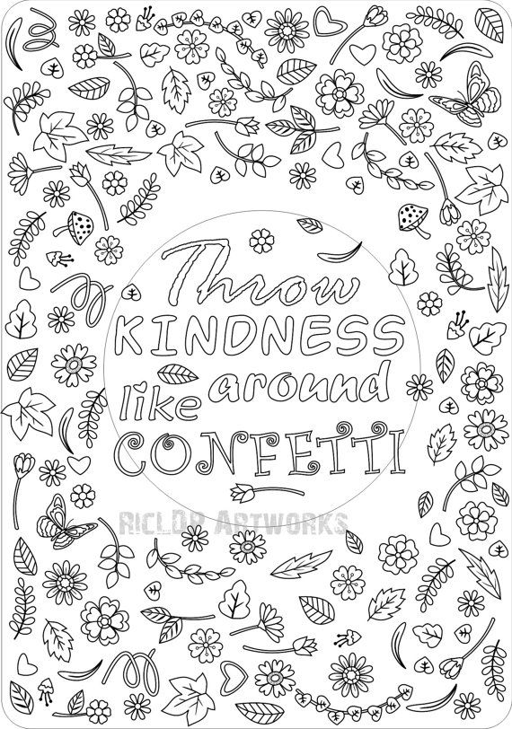 Throw Kindness Around Like Confetti Coloring Page For Etsy Quote Coloring Pages Coloring Pages For Grown Ups Printable Coloring Pages