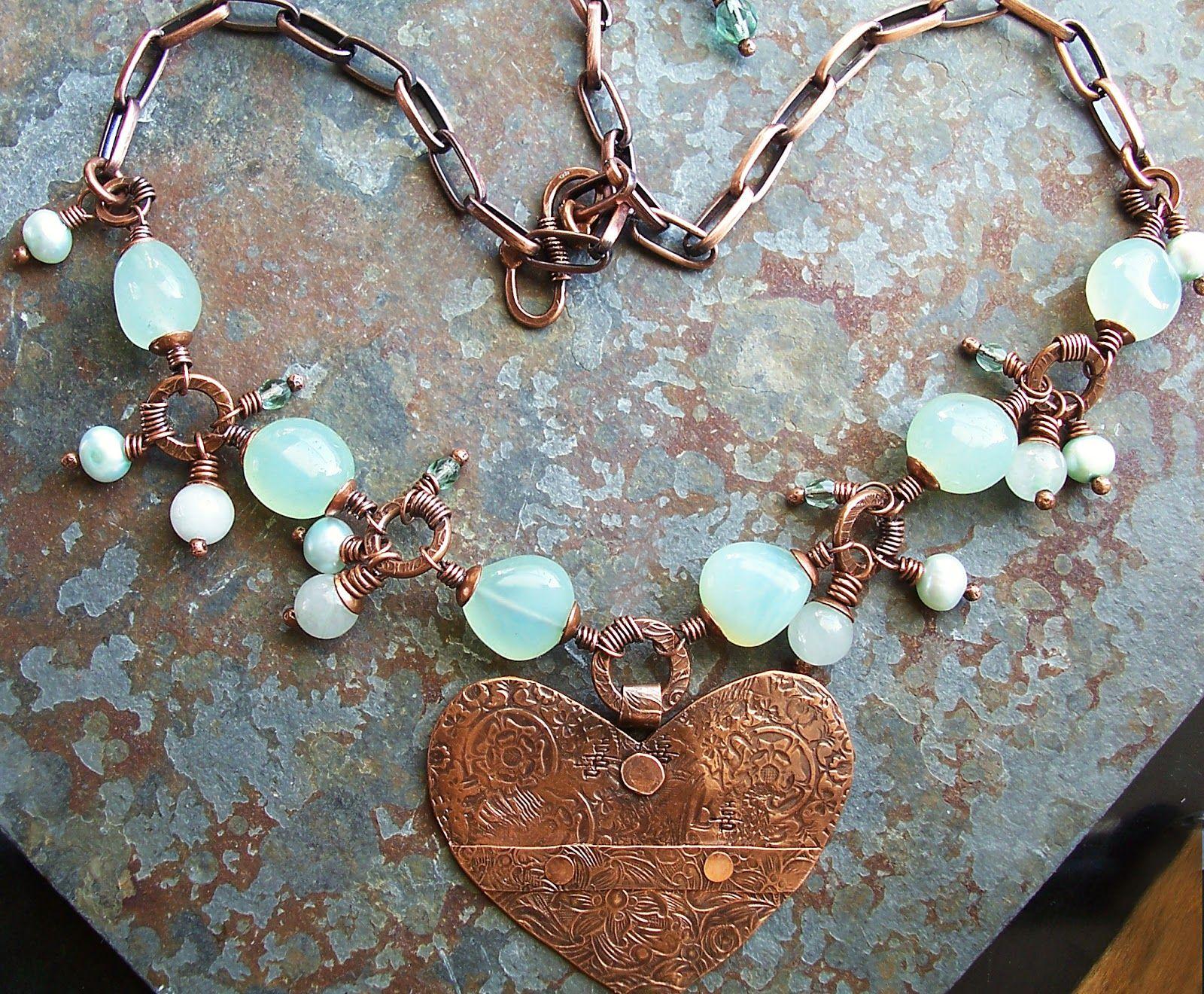 The Cerebral Dilettante: heart and aqua agate and copper.   DIY ...