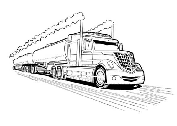 Double Tanker Trailer Truck Coloring Page Kids Play Color Truck Coloring Pages Coloring Pages Tractor Coloring Pages