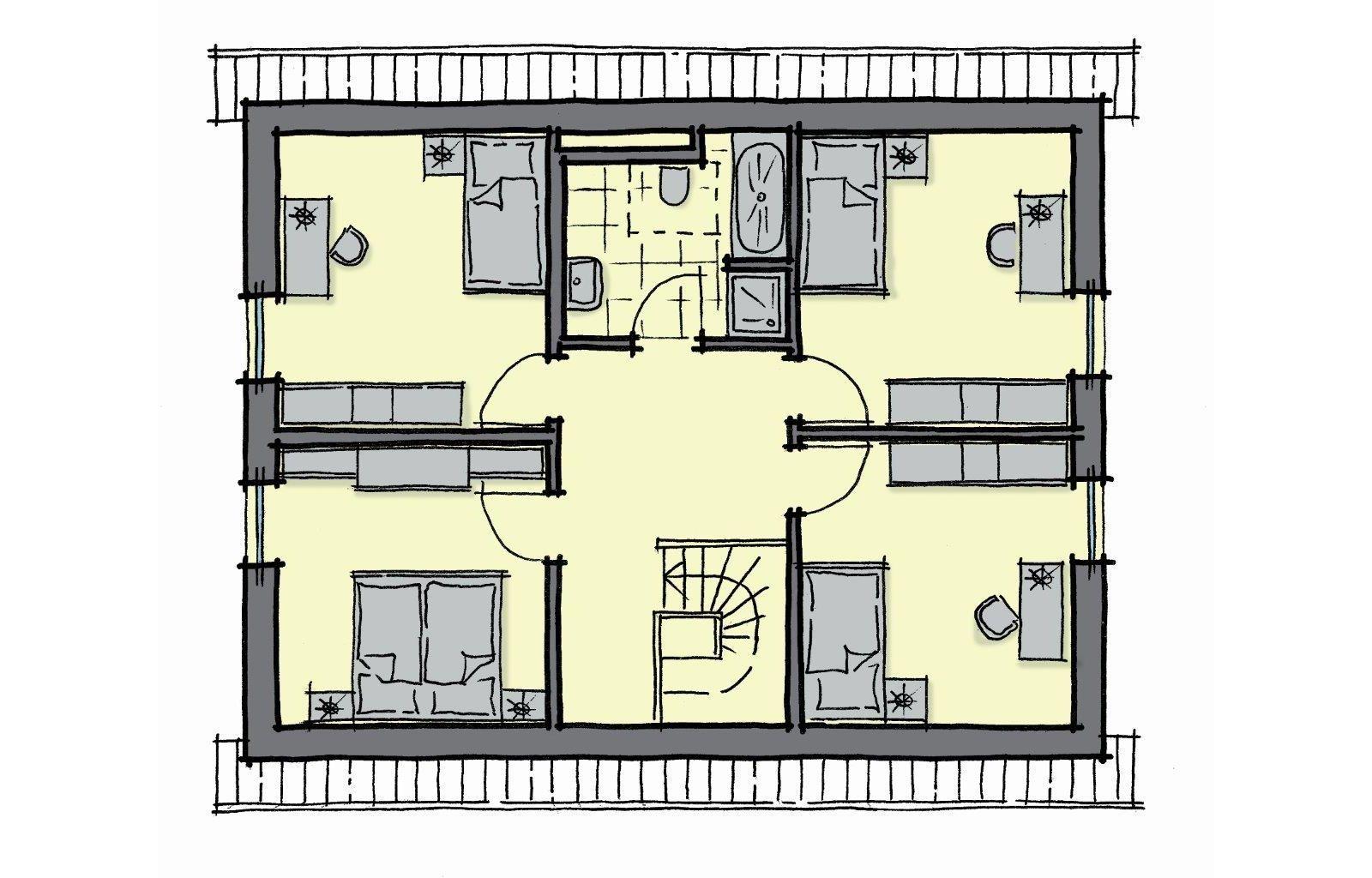Dachgeschoss Grundriss Einfamilienhaus mit Satteldach