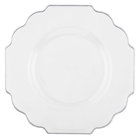 """10.75"""" Baroque Clear Plastic Dinner Plates"""