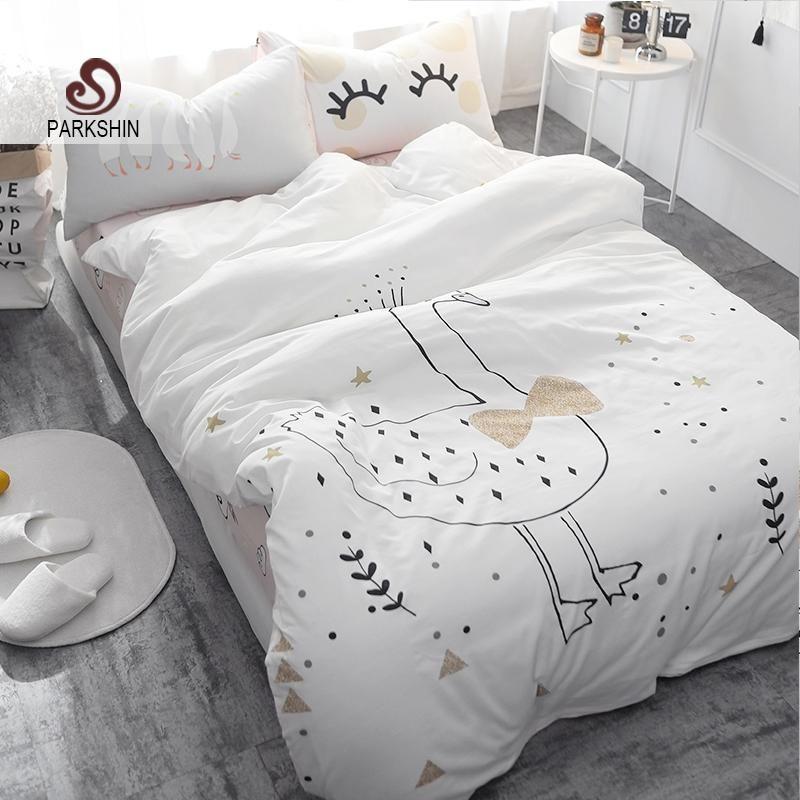 parkshin white swan printed bedding set kids cute bedspread duvet rh pinterest ca