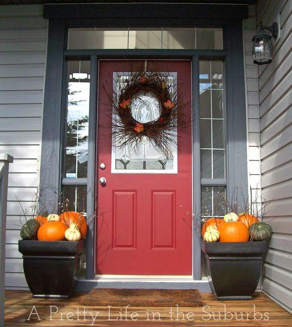 Outdoor Fall Decorating Pumpkin Ideas: Fall, Porch Decorating Ideas: Pumpkin Planters And Twig