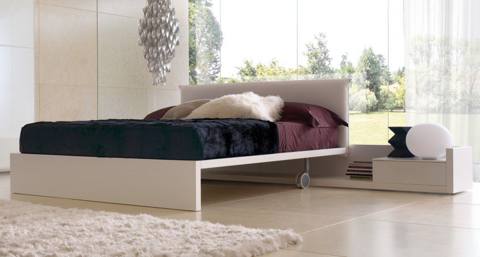 Double Bed MINIMAL   Double Bed With Frame In Melamine Cm, Available In Two  Versions: With Wheels And Padded Headboard, Can Be Fitted With Bench, ...