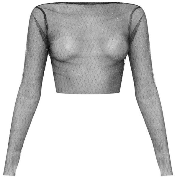 3403be54076 Morrgan Black Sheer Sparkle Mesh Crop Top ($26) ❤ liked on Polyvore  featuring tops, sheer tops, sparkly long sleeve top, sheer crop top,  sparkly crop top ...