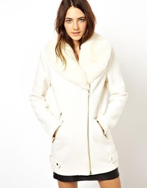 ASOS Premium Biker Coat With Detachable Faux Fur Collar - I want ...
