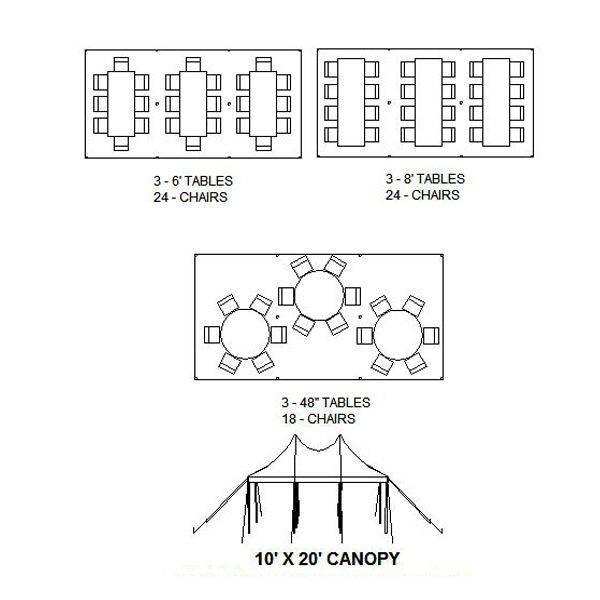 seating 10x20 tent  party