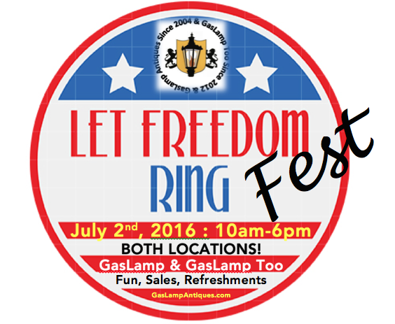 SAVE THE DATE! July 2nd, 10am-6pm, is Freedom Fest at BOTH #GasLamp stores! Sizzling summer sales & savory snacks!