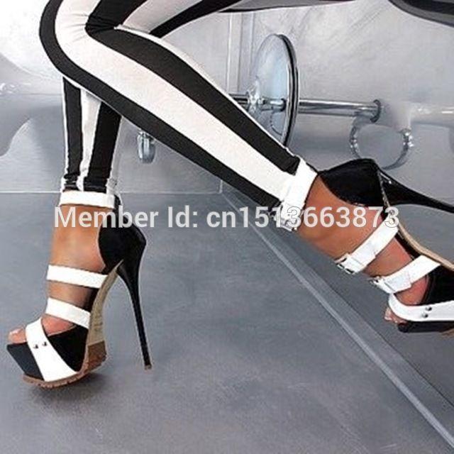 421d39e2676 Estilo del verano plataforma sandalias del alto talón Patchwork negro con  blanco de tiras en el tobillo hebillas gladiador sandalia sapato feminino