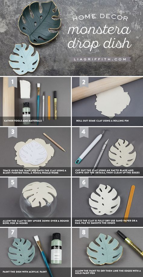 Make a simple DIY monstera drop dish for your home