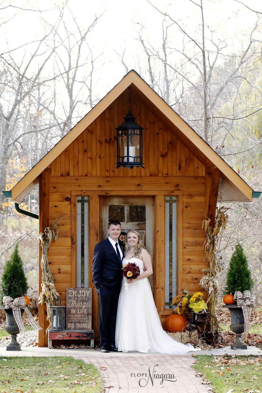 Beautiful Fall Colors At The Little Log Wedding Chapel In Niagara Fall Wedding Venues Niagara Falls Wedding Waterfall Wedding