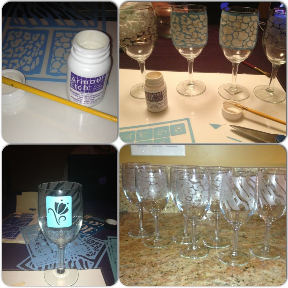 diy etched frosted wine glasses all it takes is adhesive. Black Bedroom Furniture Sets. Home Design Ideas