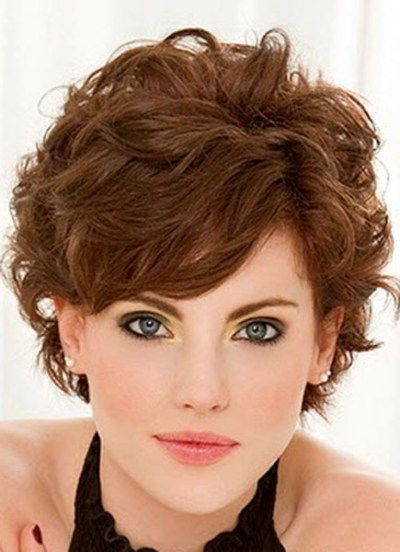 Great Example Of How To Pull Off Short Wavy Curly Hair With Bangs