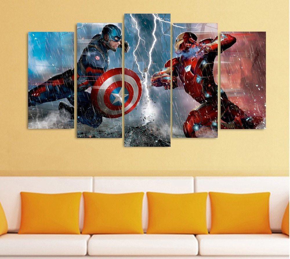 5 Panel Captain America Civil War Fighting Framed Wall Canvas Art ...