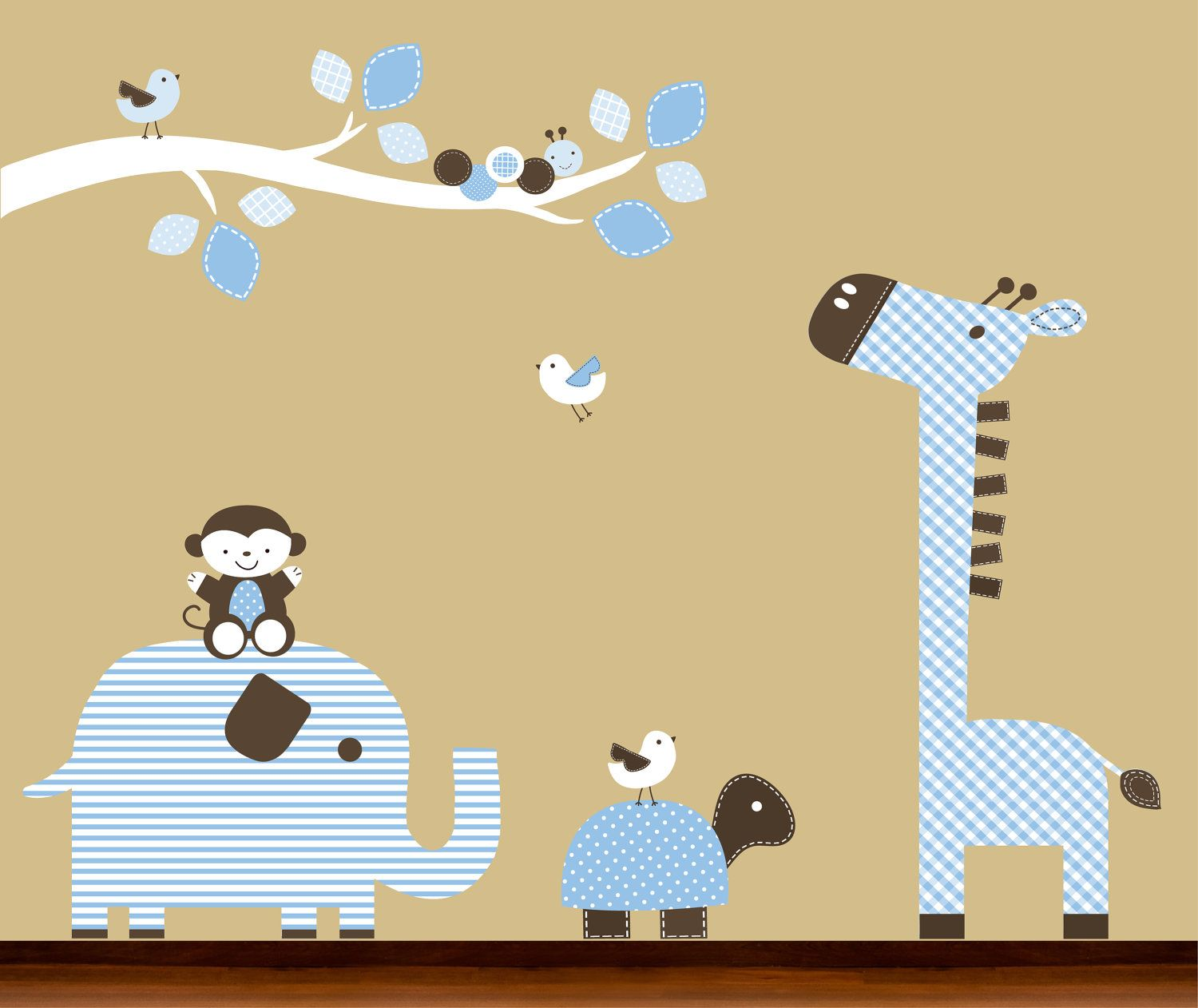 Baby Boy Nursery Blue and Brown Pattern Tree Branch and Animals ...