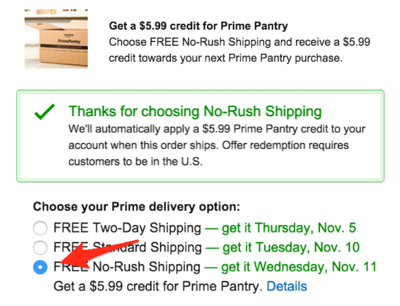 Get 599 Prime Pantry Credit with NoRush Shipping Amazon