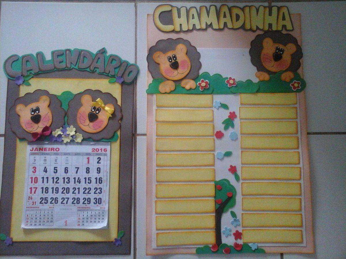 Kit De Painel Chamadinha E Calendario Decorados Em Eva Feitos Em  -> Modelo De Painel Com Animais Facil De Fazer Em Eva Para Enfeitar Sala De Becario