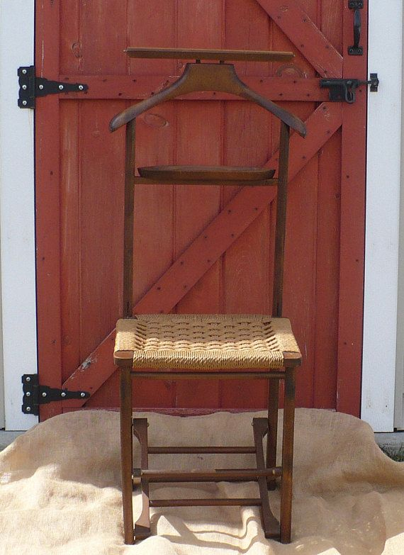 Vintage Butler Chair, Wood Valet Chair, Made In Italy, Wooden Folding Chair  with Woven Seat in 2018 | Treasures from The Early Bird Finds | Pinterest  ... - Vintage Butler Chair, Wood Valet Chair, Made In Italy, Wooden