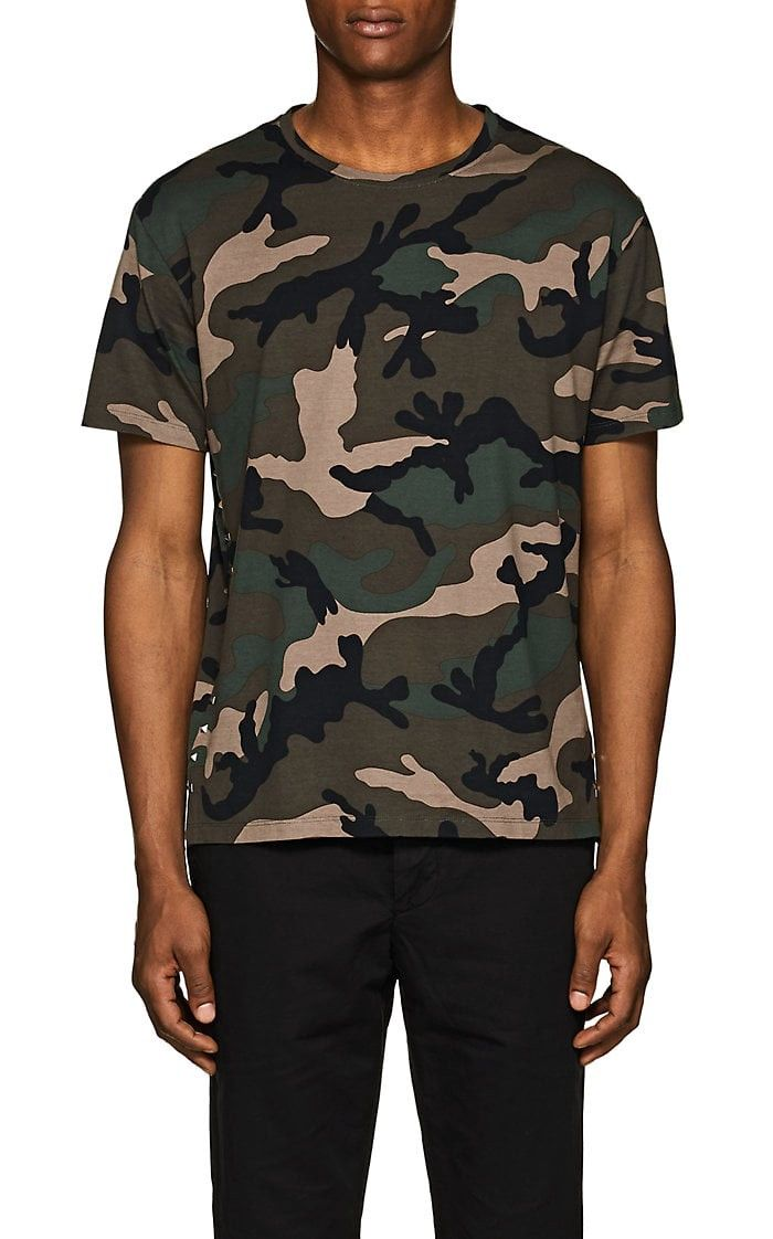b8c8a7bb Valentino Studded Camouflage Cotton T-Shirt - S Red | Products ...