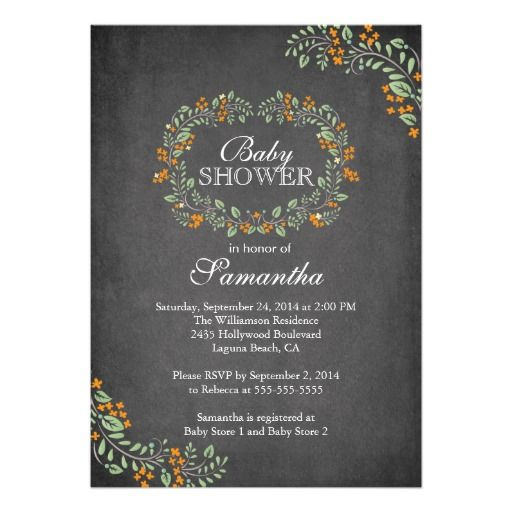 Beautiful Chalkboard Floral Frame Baby Shower Custom Invitations