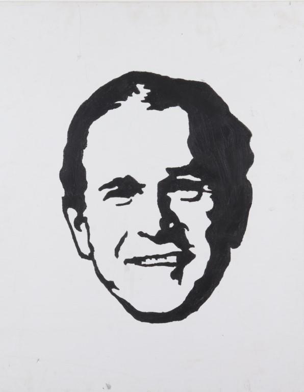 George W Bush Black White Acrylic On Canvas Showplace White Acrylics Black And White Canvas