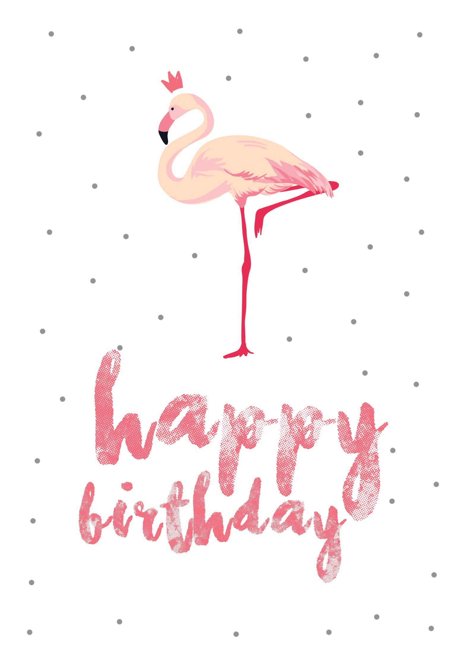 flamingo birthday free printable birthday card