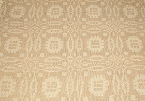 Lovely Handwoven 19th Century Oatmeal Beige Jacquard Overshot Coverlet Piece - 24 by 24 Inches
