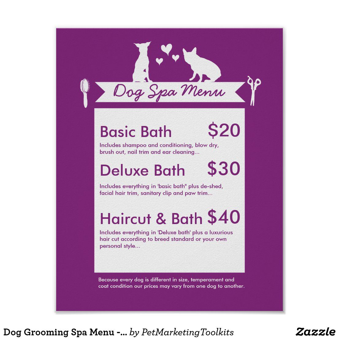 Dog grooming spa menu personalizable poster