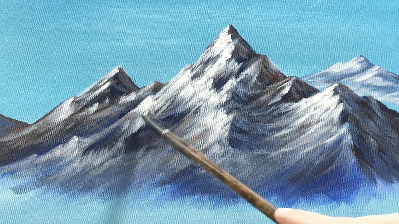 How to paint a snow covered mountain in acrylics using