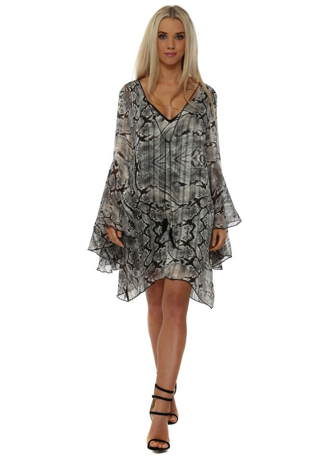 JUST M PARIS Grey Snakeskin Print Chiffon Tunic Dress