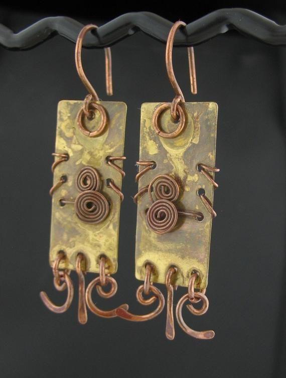 Brass Sheet Copper Wire Wrapped Earrings Wired Mixed Metal Earrings Rectangle Earrings Wire Wrapp Metal Jewelry Mixed Metal Jewelry Silver Earrings Handmade