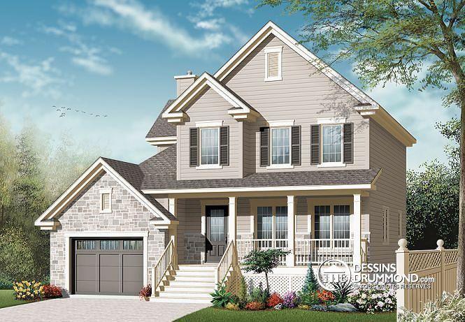 W3452-V2 - 2 étages, plan de maison champêtre avec pierres, cuisine - liste materiaux construction maison