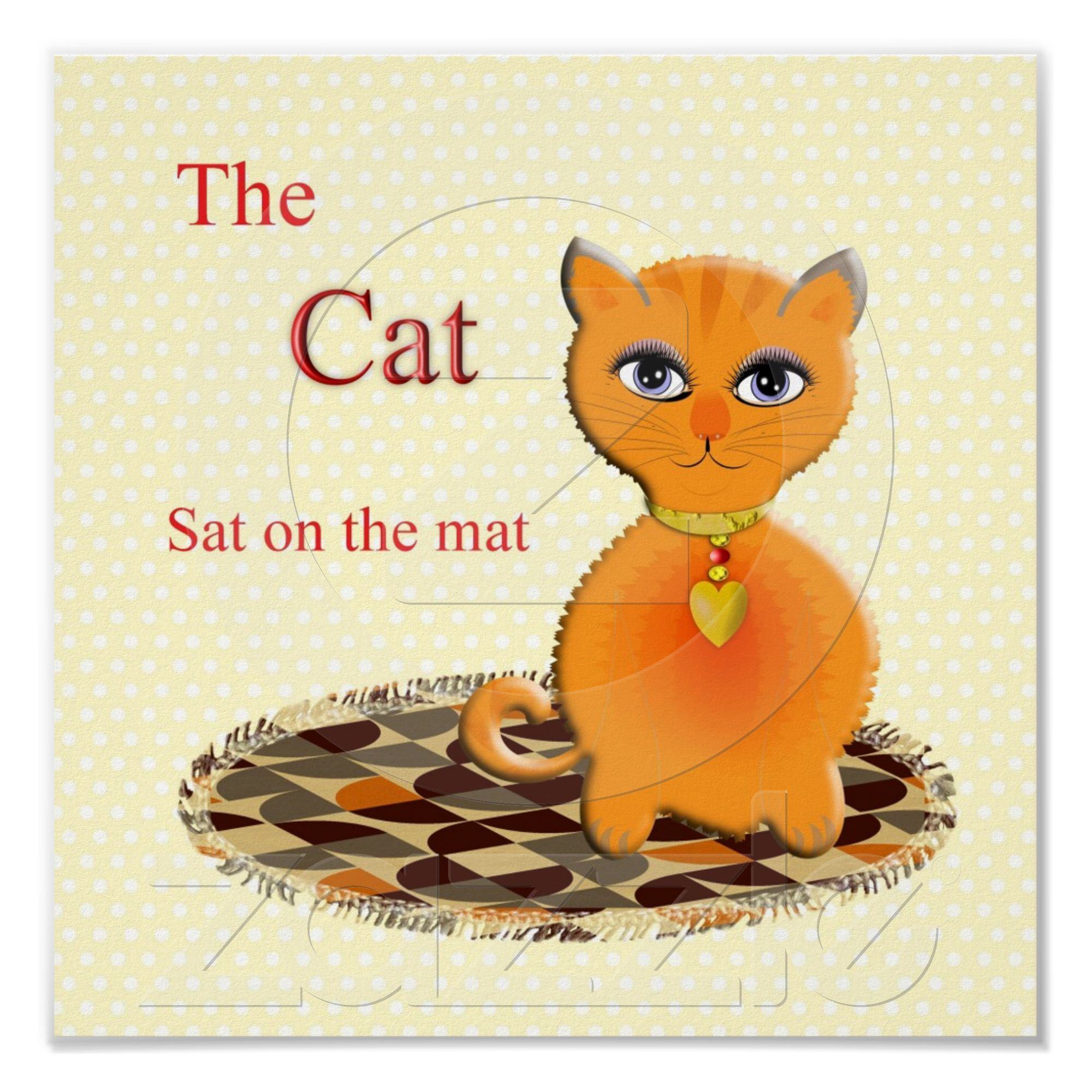 Cute Cat Sat On The Mat Kids Poster Print From Zazzle
