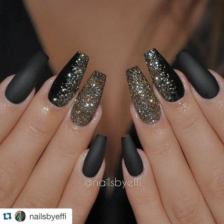 "Halloween Nails - ""Love these nails for the Fall/Winter Season #NRSistafeature ➰➰➰ @nailsbyeffi ・・・ Matte black gel with gold and black glitter❤❤❤"""