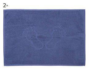 Coppia di tappetini scendidoccia in cotone Neige avio - 50x70 cm