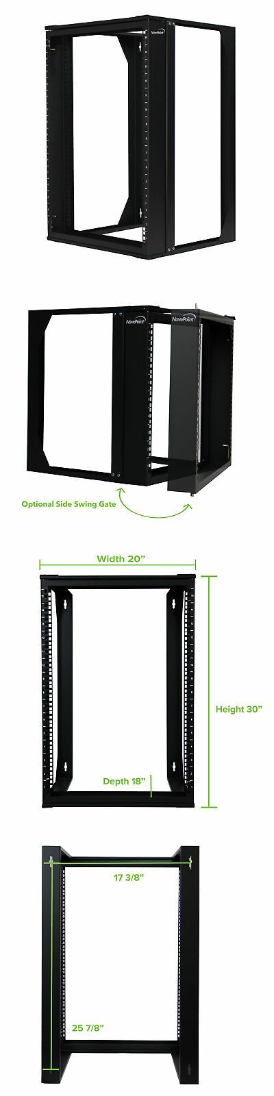 15u Wall Mount It Open Frame 19 Network Rack With Swing Out Hinged Gate Black Open Frame Patch Panels Network Rack