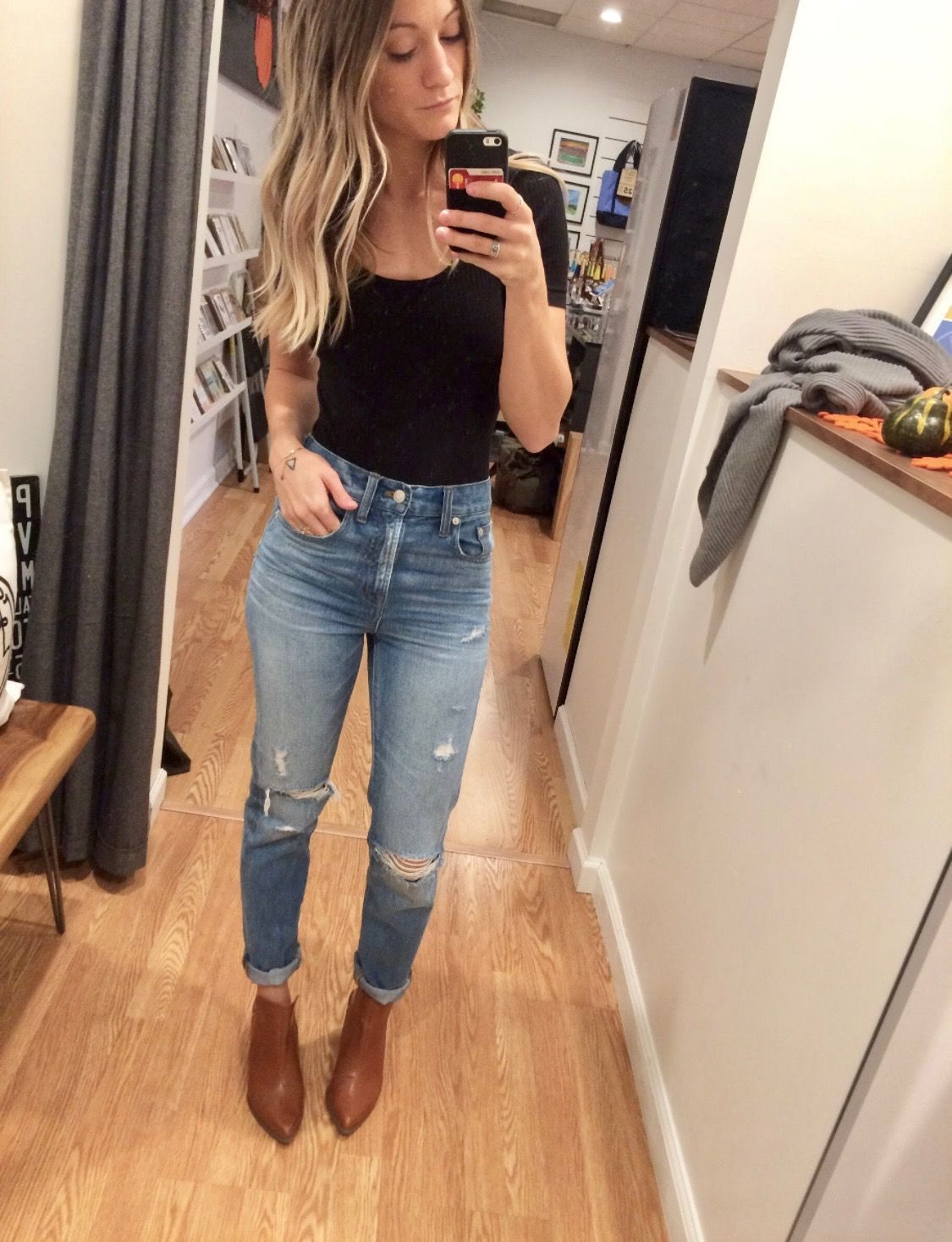 5c36d832871 Madewell Black body suit and Madewell the perfect vintage summer jeans. High  waisted distressed mom jeans.