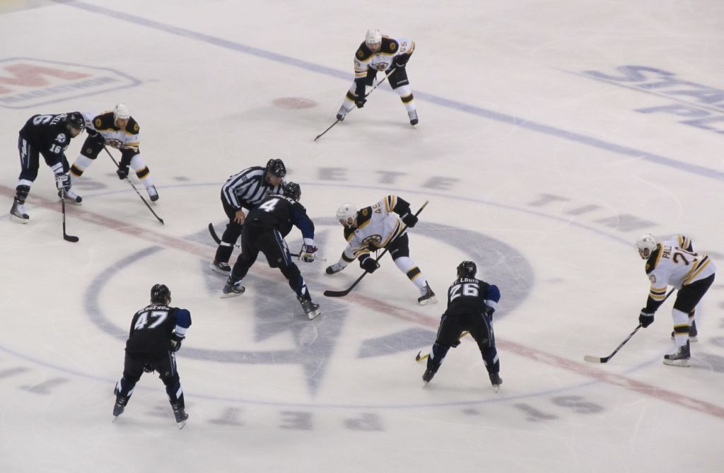Center Ice Face-Off: The Boston Bruins vs. The Tampa Bay Lightning in Florida - May, 2011. The Bruins went on to win the Stanley Cup that season!