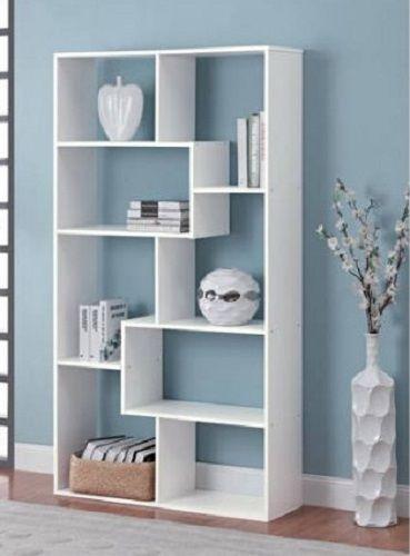 White Bookcase Versatile 8shelf Off Beat Avangard Style Irregular