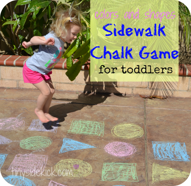 Colors and Shapes Sidewalk Chalk Game for Toddlers | Outdoor toddler ...