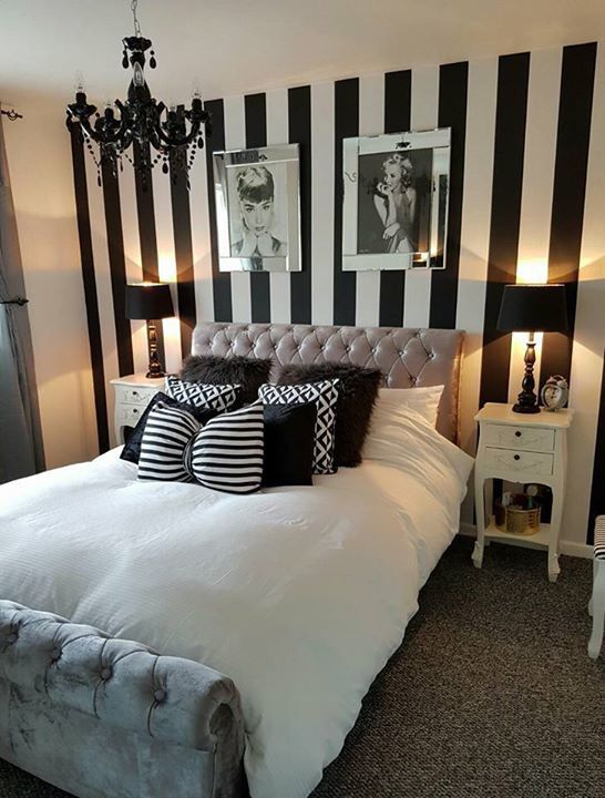 Pin By Momoko Jackson On Bedroom Ideas White Bedroom Decor Striped Walls Bedroom Master Bedrooms Decor