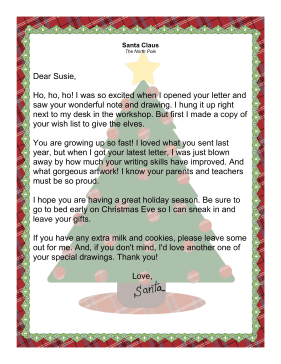This letter from santa is ideal when the child has already written a letter from santa claus acknowledging receipt of letter from child spiritdancerdesigns Images