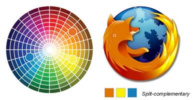 Firefox Logo Uses Split Complementary Relationship SPLIT COMPLEMENTARY Pure Blue Tint Yellow Orange