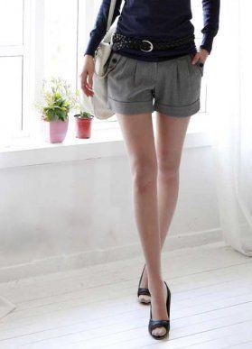 Folded Ruffle Girls Shorts Gray